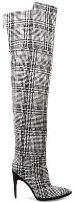 Off-White Off WhiteTM Velvet-trimmed Checked Knitted Over-the-knee Boots