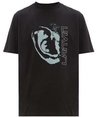 Lanvin Flocked Ear-print Cotton T-shirt - Mens - Black