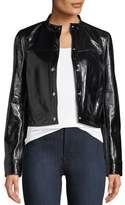 Theory Snap-Front Patent Leather Mod Bomber Jacket
