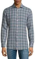 Luciano Barbera Plaid Linen Button-Down Shirt