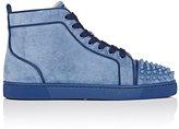 Christian Louboutin Men's Lou Spikes Orlato Flat Suede Sneakers