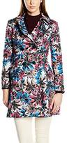Yumi Women's Big Flower Printed Trench Long Sleeve Jacket