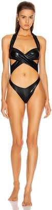 Norma Kamali High Leg Cross Over Mio Swimsuit in Black Foil | FWRD