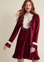 Anna Sui Emphasized Embellishments Velvet Dress in L