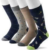 Croft & Barrow Men's 4-Pack Opticool Novelty Patterned Crew Socks