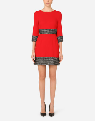 Dolce & Gabbana Short Wool Crepe Dress With Houndstooth Details