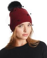 Aqua Bonnet Hat with Fox Fur Pom-Pom & Veil
