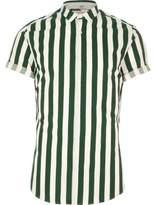 River Island Mens Dark Green stripe short sleeve slim fit shirt