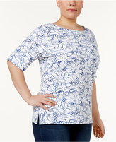 Karen Scott Plus Size Anchor-Print Top, Created for Macy's
