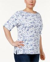 Karen Scott Plus Size Anchor-Print Top, Only at Macy's