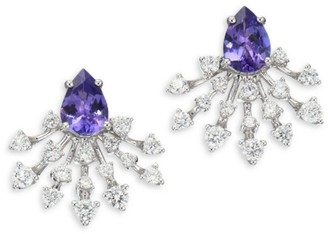 Hueb Diamond, Tanzanite & 18K White Gold Stud Earrings
