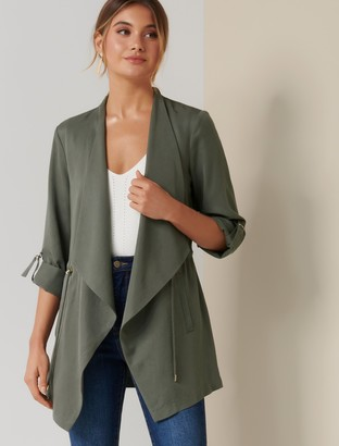 Forever New Carmen Longline Waterfall Jacket - Dusted Olive - 4