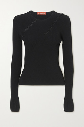 Altuzarra Margie Button-detailed Cutout Ribbed-knit Top - Black