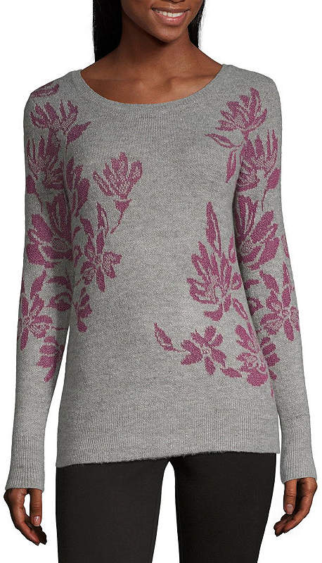 Liz Claiborne Womens Crew Neck Long Sleeve Floral Pullover Sweater