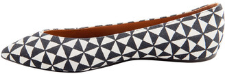 Isabel Marant Monochrome Printed Canvas Pointed Toe Ballet Flats Size 38