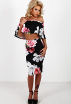 Pink Boutique Scene Stealer Black Multi Floral Midi Skirt
