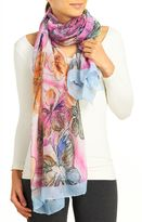 David & Young Women's Watercolor Floral Print Scarf