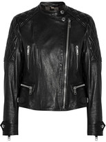 Burberry Collarless Quilted Leather Biker Jacket - Black