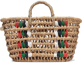 Clare Vivier Bruno Leather-trimmed Woven Straw Tote