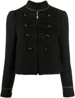 Twin-Set Cropped Tweed Military Jacket