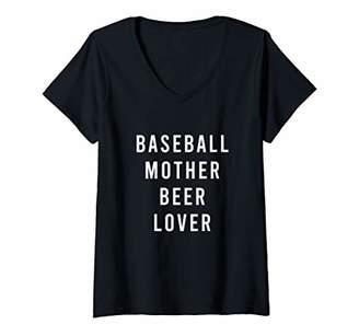 Womens Baseball Mother Beer Lover V-Neck T-Shirt