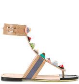 Fendi embellished sandals - women - Calf Leather/Leather - 36.5