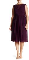 Marina Illusion Mesh Empire Waist Dress (Plus Size)