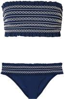 Tory Burch Costa Smocked Bandeau Bikini - Midnight blue