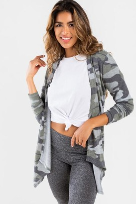 francesca's Annie Camo Hooded Cardigan - Olive