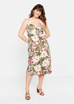 MANGO Violeta BY Tropical print dress off white - 12 - Plus sizes