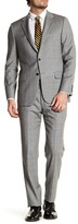 Hickey Freeman Gray Windowpane Two Button Notch Lapel Wool Regular Fit Suit