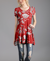 Lily Red & White Floral Scoop Neck Tunic - Plus Too