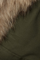 Jason Wu Raccoon-trimmed twill and leather jacket