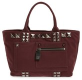 Marc Jacobs 'Chipped Studs' Canvas Shoulder Tote - Burgundy