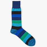 Paul Smith Buxton Stripe Cotton Socks, One Size, Blue