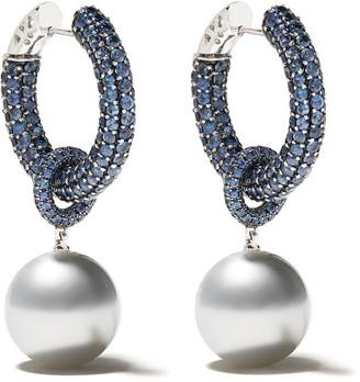 Yoko London 18kt white gold Belgravia south sea pearl and sapphire earrings