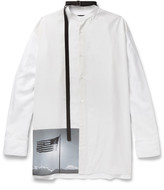 Raf Simons Robert Mapplethorpe Foundation Strap-Detailed Grandad-Collar Printed Cotton Shirt