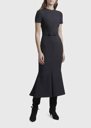 Valentino Crepe Belted Midi Dress