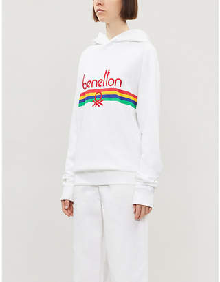 Benetton Logo-embroidered cotton-jersey hoody