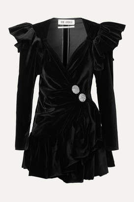 ATTICO Ruffled Embellished Wrap-effect Cotton-velvet Mini Dress - Black