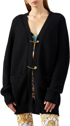 Versace Safety Pin Oversize Wool Cardigan