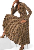 Michael Kors Python-Print Crushed Georgette Dress