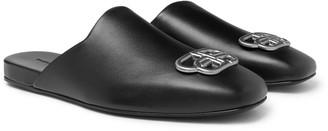 Balenciaga Embellished Leather Backless Loafers
