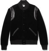 Saint Laurent Leather-trimmed Cotton-corduroy Bomber Jacket - Black