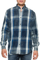 DSQUARED2 Chambray Plaid Button-Down Shirt, Blue