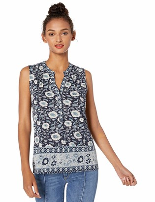 Lucky Brand Women's Sleeveless Border Print Henley TOP
