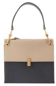 HUGO BOSS Medium Kristin Shoulder Bag In Color Block Italian Leather - Natural