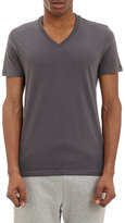 Barneys New York MEN'S V-NECK T-SHIRT-DARK GREY SIZE S