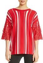 Maje Molina Striped Lace-Trim Sweater