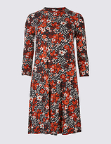 M&S Collection Floral Print 3/4 Sleeve Swing Dress